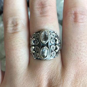 Herkimer diamond gemstone sterling silver ring